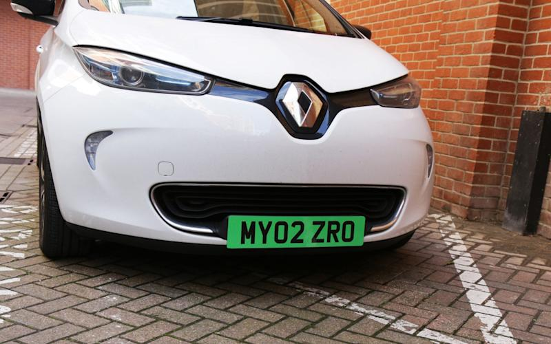 The fully green number plate option the Government is considering - Department for Transport