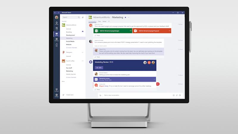 Computer display showing Microsoft Teams communications software.
