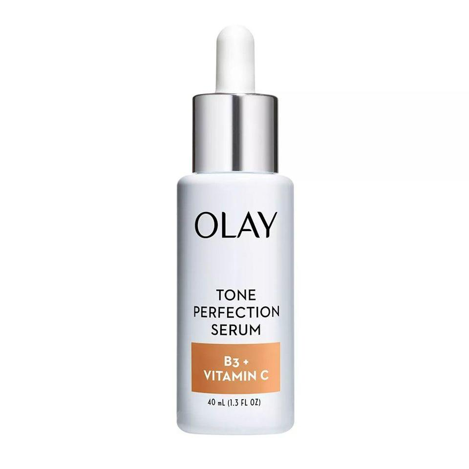 """<p><strong>Olay</strong></p><p>ulta.com</p><p><strong>$39.99</strong></p><p><a href=""""https://go.redirectingat.com?id=74968X1596630&url=https%3A%2F%2Fwww.ulta.com%2Ftone-perfection-serum-with-vitamin-b3-vitamin-c%3FproductId%3Dpimprod2012149&sref=https%3A%2F%2Fwww.bestproducts.com%2Fbeauty%2Fg20966726%2Fvitamin-c-face-serum-reviews%2F"""" rel=""""nofollow noopener"""" target=""""_blank"""" data-ylk=""""slk:Shop Now"""" class=""""link rapid-noclick-resp"""">Shop Now</a></p><p>Why scour though all of the expensive luxury picks when this drugstore jewel works just as well? This vitamin C serum from Olay also contains vitamin B-3, which brightens and evens your complexion. </p>"""