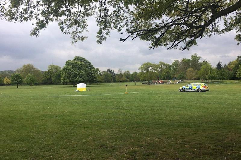 Crime scene: a section of Dulwich Park remained cordoned off on Friday: Chad O'Carroll