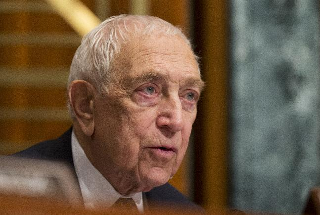 FILE -In a Dec. 5, 2012, file photo Sen. Frank Lautenberg, D-N.J., speaks to witnesses, during a hearing on Superstorm Sandy on Capitol Hill in Washington. Lautenberg, a multimillionaire New Jersey businessman and liberal who was called out of retirement for a second tour of duty in Congress, has died at age 89. (AP Photo/Manuel Balce Ceneta, File)