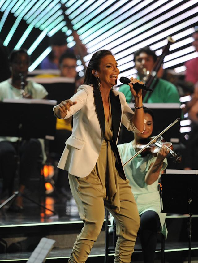 Brazilian singer Ivete Sangalo performs during the Preliminary Draw for the 2014 FIFA World Cup Brazil, on July 30, 2011, at the Marina da Gloria, in Rio de Janeiro, Brazil. AFP PHOTO / NELSON ALMEIDA (Photo credit should read NELSON ALMEIDA/AFP/Getty Images)