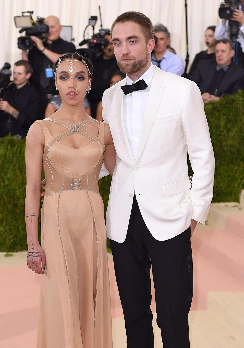 """<p>This couple's two-year relationship was initiated via a special <a href=""""https://www.eonline.com/de/news/592353/robert-pattinson-and-fka-twigs-were-set-up-by-sienna-miller-and-tom-sturridge"""" rel=""""nofollow noopener"""" target=""""_blank"""" data-ylk=""""slk:introduction"""" class=""""link rapid-noclick-resp"""">introduction</a> by Sienna Miller and her then-beau Tom Sturridge. The three actors attended an FKA Twigs concert together, and Sturridge made sure to get Pattinson backstage access to meet the singer. </p>"""