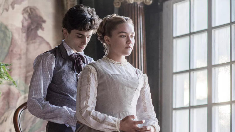 Timothée Chalamet and Florence Pugh in 'Little Women'. (Credit: Sony)
