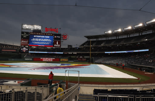 Friday's Giants-Nationals was postponed due to rain, but the Nationals took their time letting everyone know about the decision. (AP)