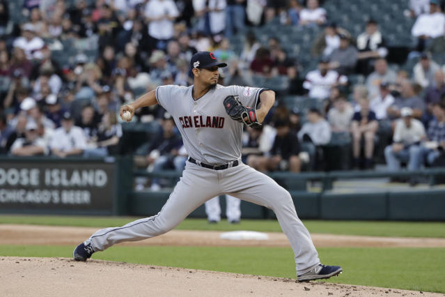 FILE - In this May 30, 2019, file photo, Cleveland Indians starting pitcher Carlos Carrasco throws against the Chicago White Sox during the first inning of a baseball game in Chicago. Carrasco, who was diagnosed with leukemia and was honored during Tuesdays, July 9 All-Star Game, will throw a bullpen session and hes confident he can overcome his condition and pitch again for Cleveland this season.(AP Photo/Nam Y. Huh, File)