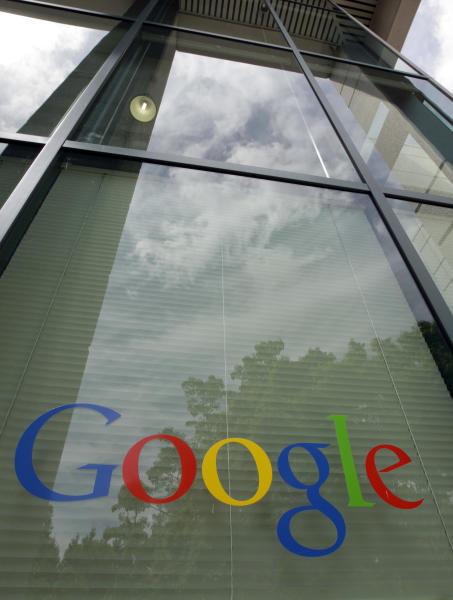 A Google logo is displayed at the headquarters in Mountain View, Calif., Thursday, April 12, 2012. Google Inc. said Thursday that it earned $2.89 billion, or $8.75 per share, in the first quarter. That's up from $1.8 billion, or $5.51 per share, a year earlier. (AP Photo/Paul Sakuma)