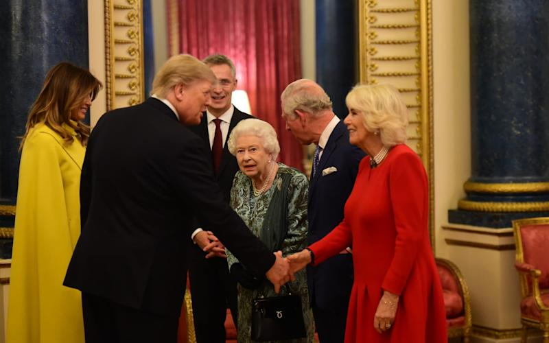 Mr Trump is greeted by the Royal family as he arrives at Buckingham Palace - Geoff Pugh