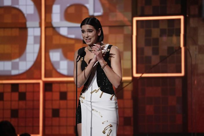Dua Lipa at the mike accepting best new artist at the 61st Grammy Awards