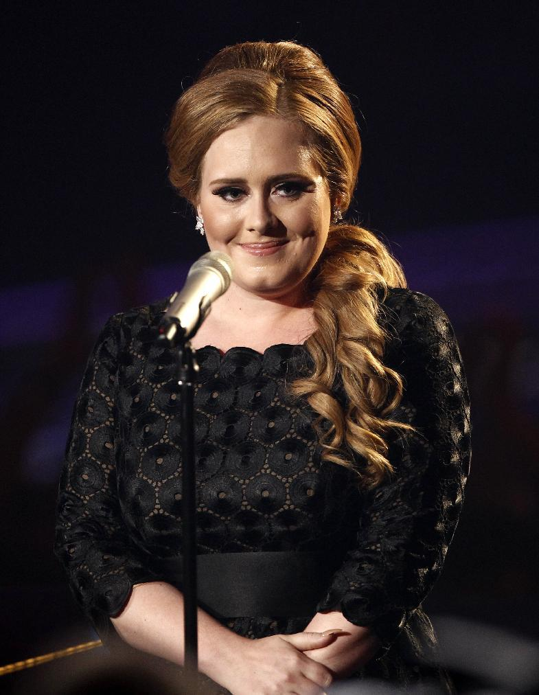 FILE - In this Aug. 28, 2011 file photo, singer Adele is shown at the MTV Video Music Awards in Los Angeles. Adele has canceled all tour dates and promotional appearances for the year and will undergo throat surgery.  (AP Photo/Matt Sayles, file)
