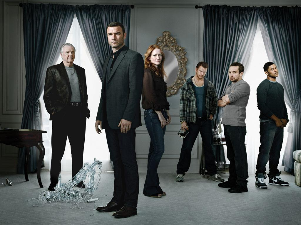 "Jon Voight as Mickey Donovan, Liev Schreiber as Ray Donovan, Paula Malcomson as Abby Donovan, Dash Mihok as Bunchy Donovan, Eddie Marsan as Terry Donovan, and Pooch Hall as Daryll in ""Ray Donovan"" Season 1."