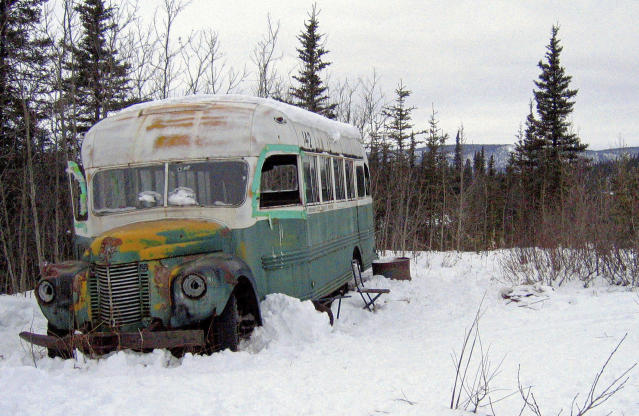 This March 21, 2006, file photo, shows the abandoned bus where Christopher McCandless starved to death in 1992 on Stampede Road near Healy, Alaska. (AP Photo/Jillian Rogers, File )