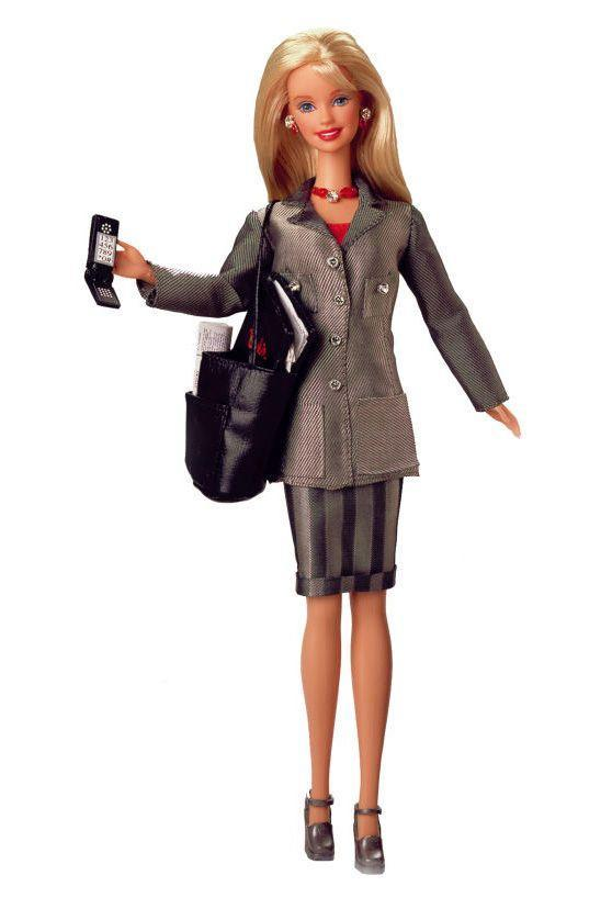 "<p>Working Woman Barbie climbs the corporate ladder with a mobile phone, an overflowing workbag, a short skirt and a long jacket. </p><p><a href=""http://www.goodhousekeeping.com/life/entertainment/advice/g3893/gadgets-you-were-obsessed-with-90s/"" rel=""nofollow noopener"" target=""_blank"" data-ylk=""slk:15 '90s gadgets everyone was obsessed with »"" class=""link rapid-noclick-resp""><em>15 '90s gadgets everyone was obsessed with »</em></a></p>"