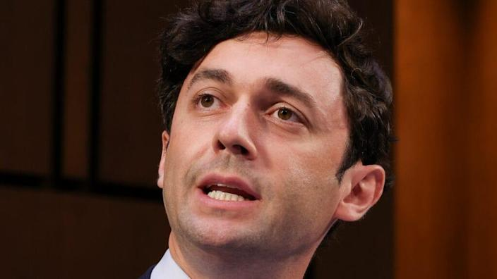 Democratic Georgia Sen. Jon Ossoff speaks at a Senate Judiciary Committee hearing on voting rights last month on Capitol Hill in Washington, D.C. (Photo by Evelyn Hockstein-Pool/Getty Images)
