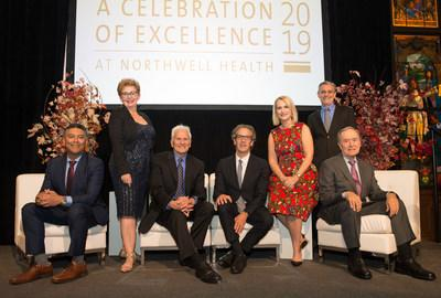 Northwell Health's newly endowed professors and chairs, from left: Varinder P. Singh, MD; Karina W. Davidson, PhD, MASc; Jeffrey M. Lipton, MD, PhD; Louis Potters, MD; Stacey E. Rosen, MD; Kevin J. Tracey, MD; and Nicholas Chiorazzi, MD.