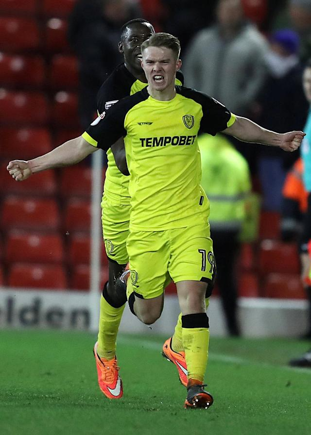 "Soccer Football - Championship - Barnsley vs Burton Albion - Oakwell, Barnsley, Britain - February 20, 2018 Burton Albion's Jacob Davenport celebrates scoring their second goal Action Images/John Clifton EDITORIAL USE ONLY. No use with unauthorized audio, video, data, fixture lists, club/league logos or ""live"" services. Online in-match use limited to 75 images, no video emulation. No use in betting, games or single club/league/player publications. Please contact your account representative for further details."