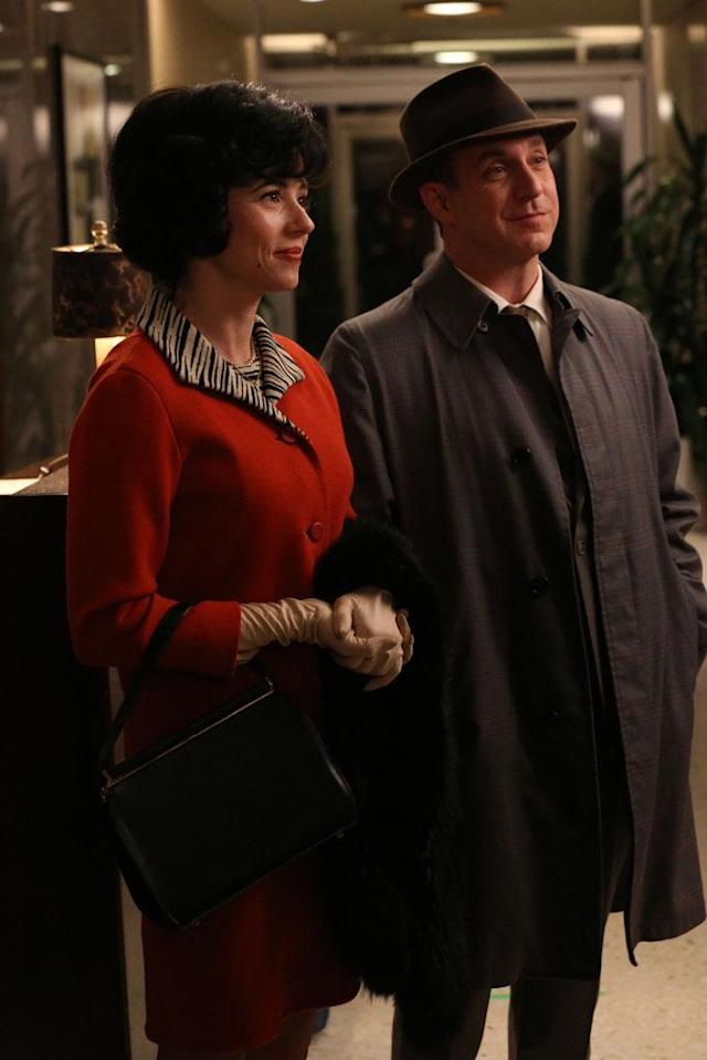 "Sylvia Rosen (Linda Cardellini) and Arnold Rosen (Brian Markinson) in the ""Mad Men"" episode, ""The Flood."""