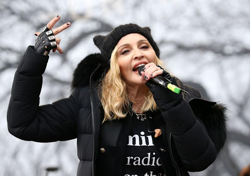 Madonna performs onstage during the Women's March on Washington, DC.