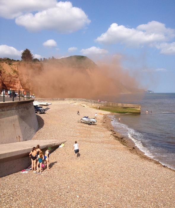 Rock fall on Devon beach as thousands of tonnes of rubble falls near tourists