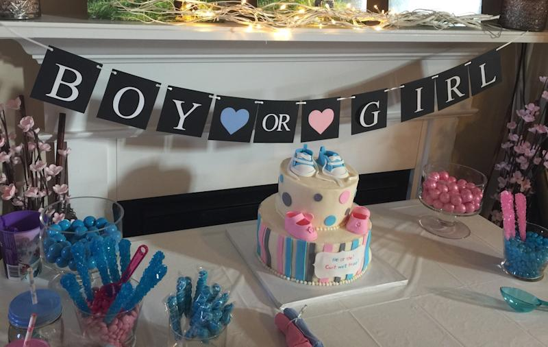 Baby shower celebration cake and bunting