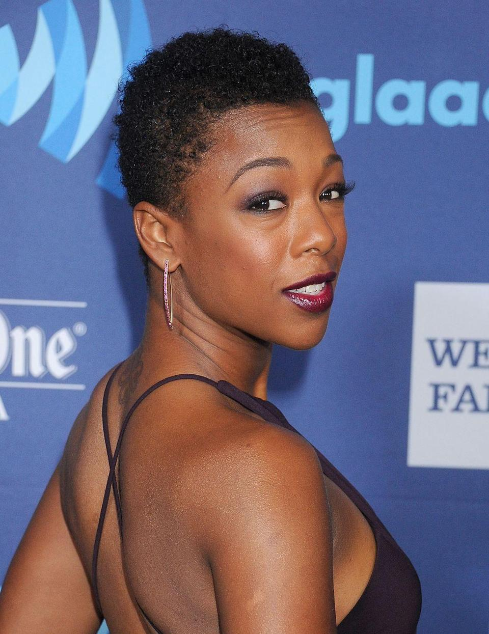 <p>Show off your natural hair texture with a sweet short cut that has closely-cropped sides, like actress <strong>Samira Wiley</strong>.</p>
