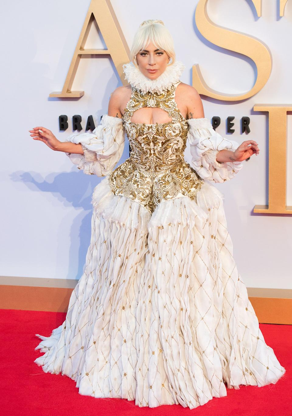 """Gaga wears an Elizabethan era-inspired Alexander McQueen gown for the U.K. premiere of """"A Star Is Born"""" on Sept. 27, 2018."""
