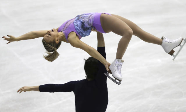 Kirsten Moore Towers and Michael Marinara of Canada perform during a pairs short program of their NHK Trophy Figure Skating in Hiroshima, western Japan, Friday, Nov. 9, 2018. (AP Photo/Koji Sasahara)