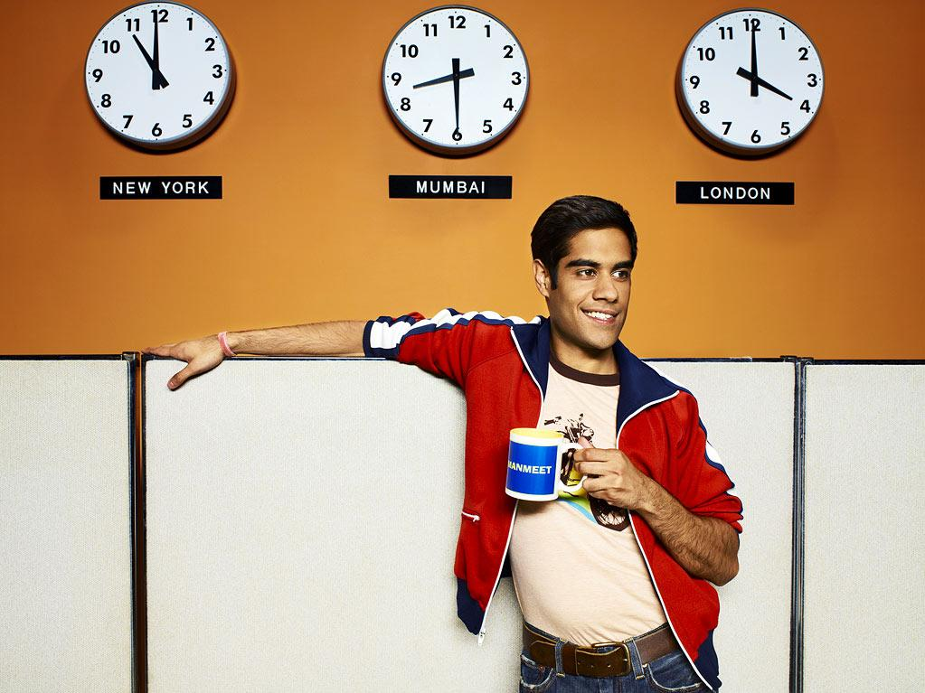 "Sacha Dhawan stars as Manmeet in ""Outsourced."""