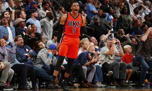 "<span class=""element-image__caption"">Russell Westbrook has made the magnificent appear routine this season. </span> <span class=""element-image__credit"">Photograph: Jack Dempsey/AP</span>"