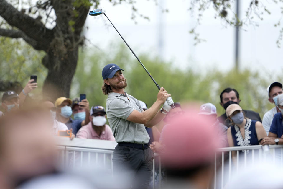 Tommy Fleetwood, of England, watches his drive from the No. 12 tee during a round of eight match at the Dell Technologies Match Play Championship golf tournament Saturday, March 27, 2021, in Austin, Texas. (AP Photo/David J. Phillip)