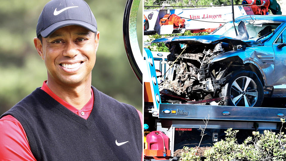 Tiger Woods, pictured here after his massive car crash.
