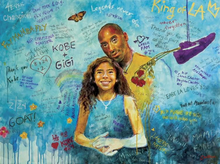 Portrait illustration of Kobe and Gianna Bryant with a wall of fan messages around them.