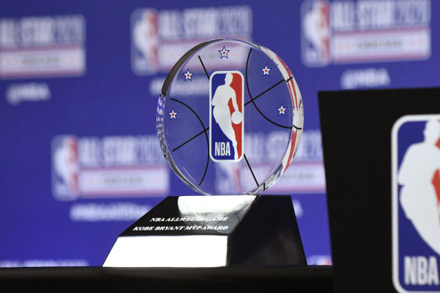 The NBA All-Star Game Kobe Bryant MVP Award is displayed during a news conference Saturday, Feb. 15, 2020, in Chicago. (AP Photo/David Banks)