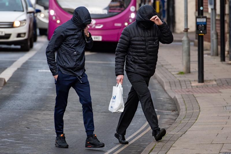 Metal detectorists George Powell (left) and Layton Davies arriving at Worcester Crown Court where they face allegations of theft after failing to declare a �3 million Anglo-Saxon hoard. PA Photo. Picture date: Wednesday November 20, 2019. Among the priceless hoard was a ninth century gold ring, a dragon�s head bracelet and silver ingot, a crystal rock pendant dating to the fifth century and up to 300 coins, some dating to the reign of King Alfred. See PA story COURTS Treasure. Photo credit should read: Jacob King/PA Wire