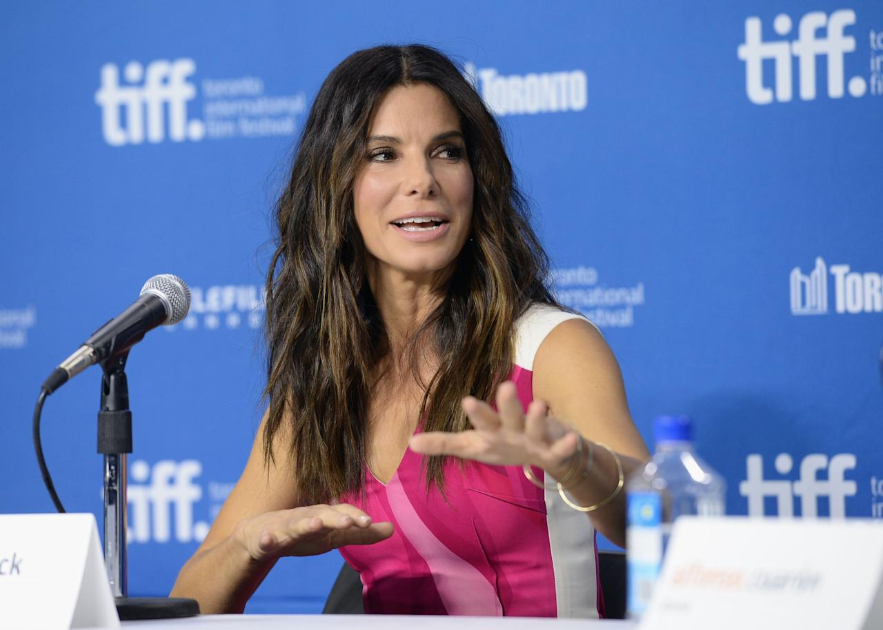 "TORONTO, ON - SEPTEMBER 09: Actress Sandra Bullock speaks onstage at ""Gravity"" Press Conference during the 2013 Toronto International Film Festival at TIFF Bell Lightbox on September 9, 2013 in Toronto, Canada. (Photo by Jason Merritt/Getty Images)"