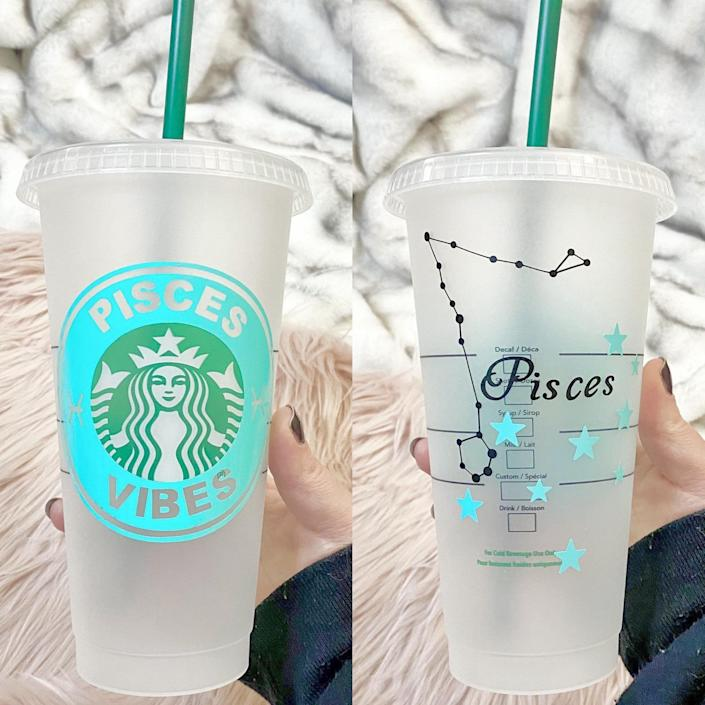 <p>The <span>Pisces Starbucks Cold Cups</span> ($19) is a sustainable choice for those who love their iced coffees. </p>
