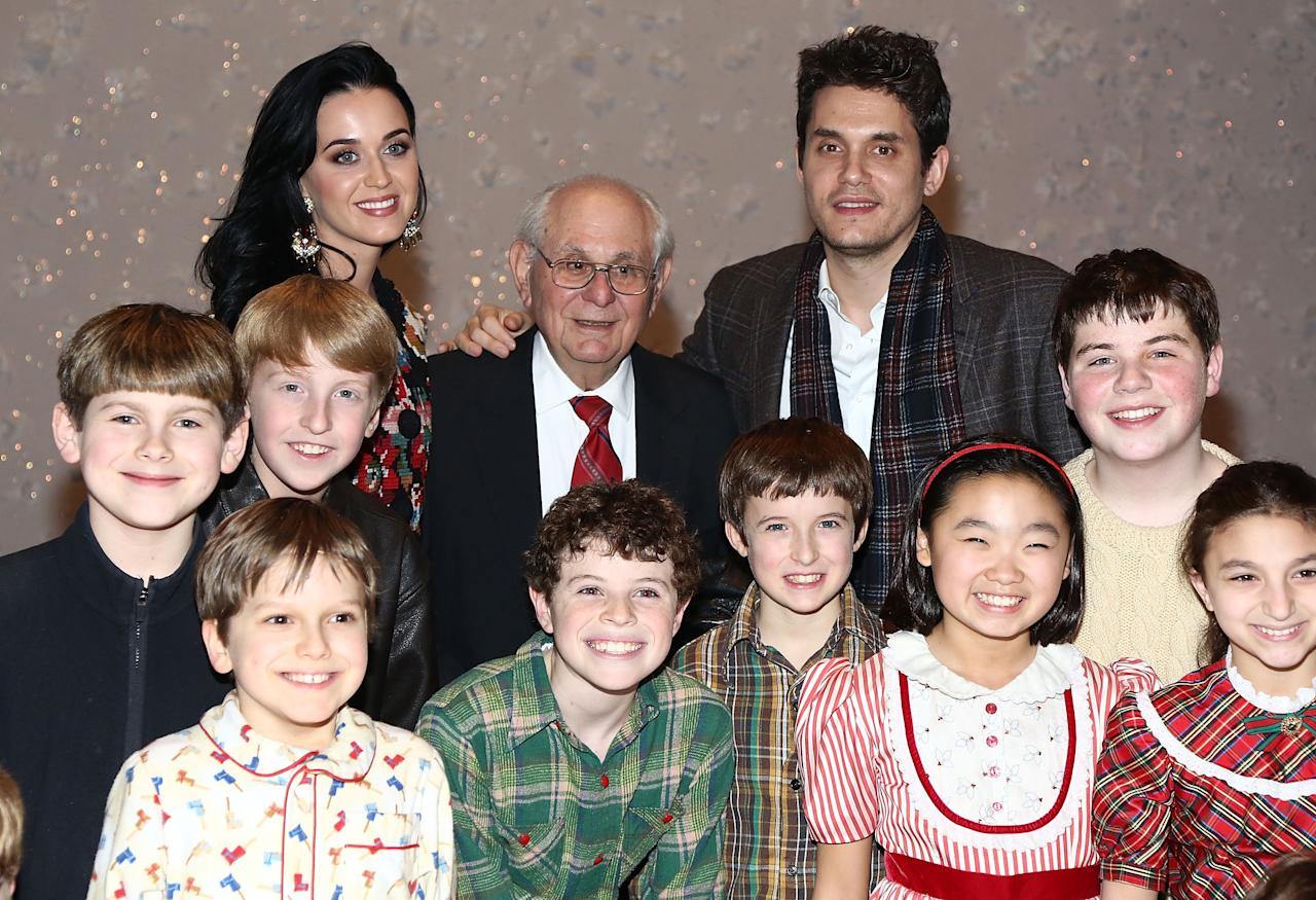 "NEW YORK, NY - DECEMBER 12:  (L-R)  Katy Perry, Richard Mayer and John Mayer pose for photos with cast members from ""A Christmas Story, The Musical"" Broadway Performance at Lunt-Fontanne Theatre on December 12, 2012 in New York City.  (Photo by Astrid Stawiarz/Getty Images)"