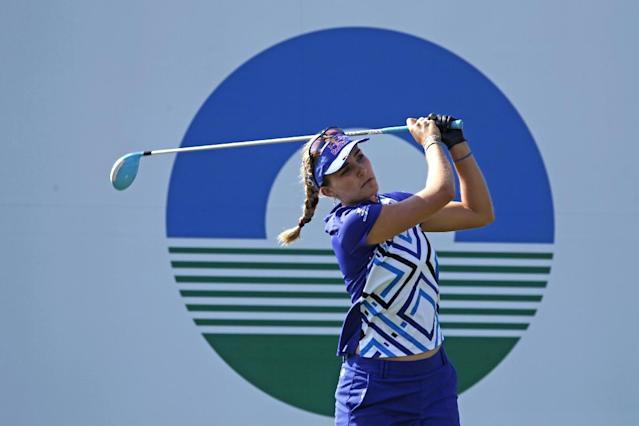 Lexi Thompson of the United States, tees off the 1st hole during the last day of the LPGA Taiwan Championship tournament at the Sunrise Golf & Country Club, Sunday, Oct. 27, 2013, in Yangmei, northern Taiwan. (AP Photo/Wally Santana)