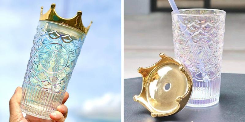Starbucks' New Glass Tumbler Is Topped With a Gold Crown Lid for Royal Sipping