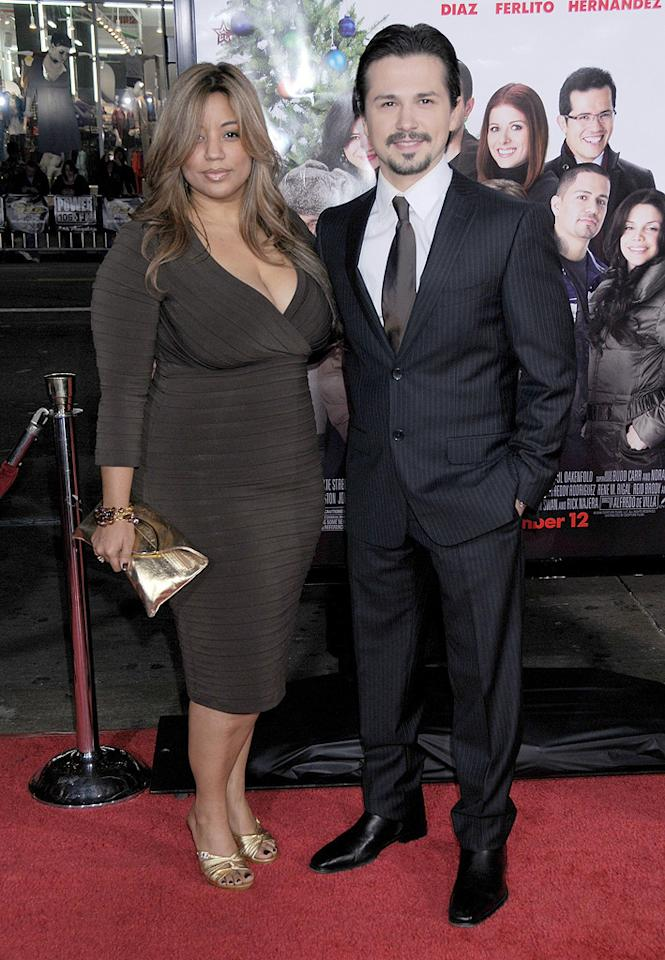 """<a href=""""http://movies.yahoo.com/movie/contributor/1809106576"""">Freddie Rodriguez</a> and wife at the Los Angeles premiere of <a href=""""http://movies.yahoo.com/movie/1809991685/info"""">Nothing Like the Holidays</a> - 12/03/2008"""