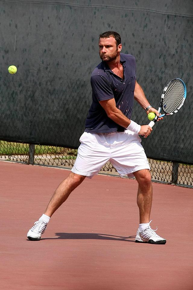 "New dad Liev Schreiber shows off his tennis skills. GS/<a href=""http://www.x17online.com"" target=""new"">X17 Online</a> - July 30, 2007"