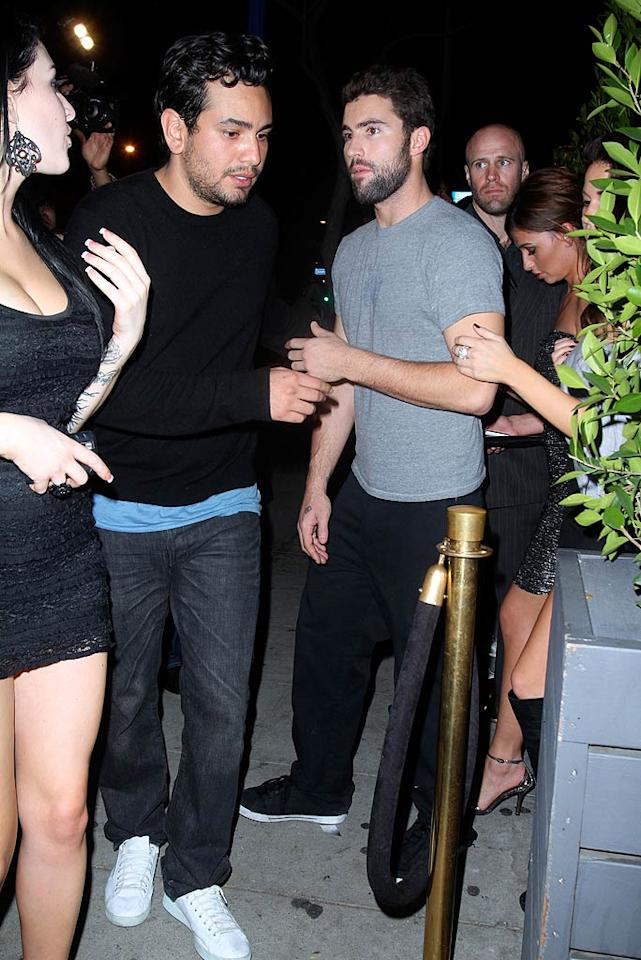 "BFFs Frankie Delgado and Brody Jenner head straight into the club -- bypassing the velvet rope -- accompanied by their scantily-clad entourage. EPA/<a href=""http://www.x17online.com"" target=""new"">X17 Online</a> - February 18, 2010"