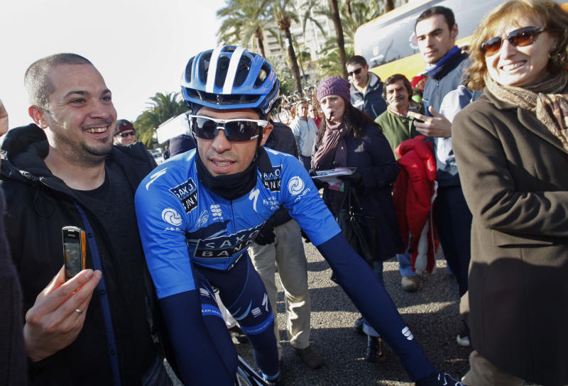 Cyclist Alberto Contador, is seen before the start of the first stage of the Mallorca Challenge cycling race in Palma de Mallorca, Spain, Sunday, Feb. 5, 2012.  (AP Photo/Manu Mielniezuk)