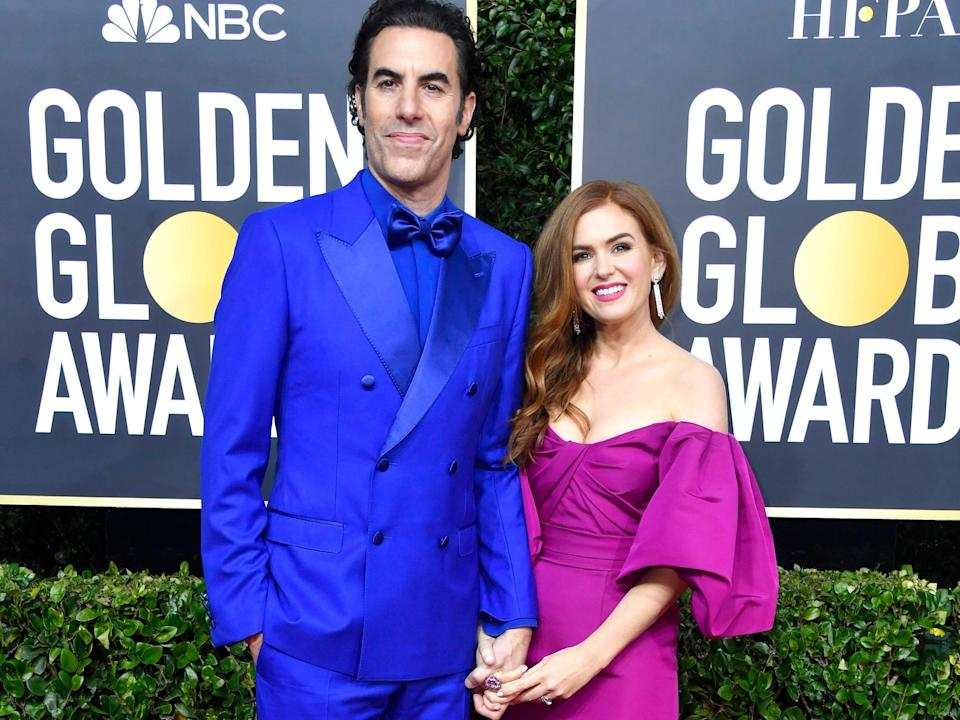 Sacha Baron Cohen and Isla Fisher golden globes