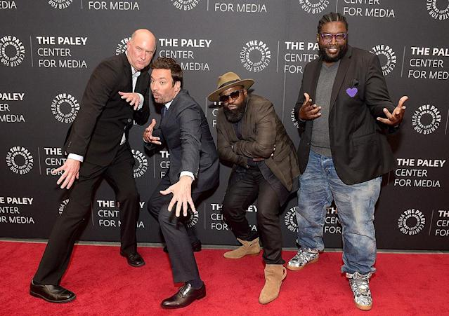 <p>If the <em>Tonight Show</em> host and his crew (including Questlove and Black Thought from the Roots and show director Dave Diomedi) look cool, it's because they were trying very, very hard — or at least Fallon was — at a Paley Center event the Big Apple. LOL! (Photo by J. Kempin/Getty Images) </p>