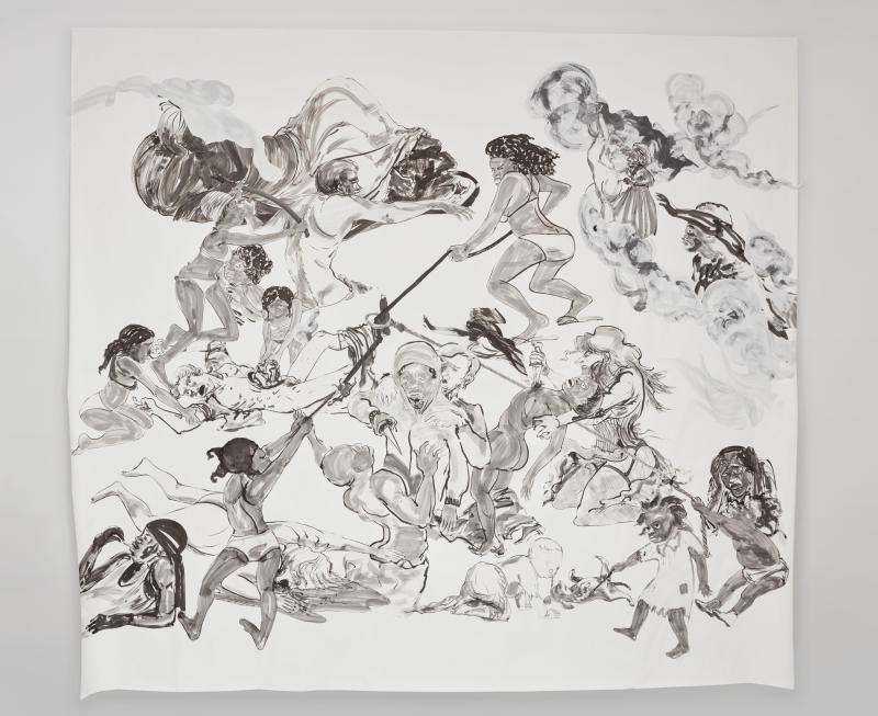"""Kara Walker, """"The Pool Party of Sardanapalus (after Delacroix, Kienholz),"""" 2017, Sumi ink and collage on paper, 126.5 by 140 inches. (Kara Walker courtesy of Sikkema Jenkins Co New York)"""