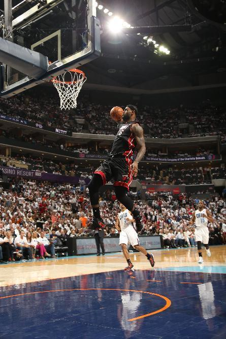 CHARLOTTE, NC - APRIL 26: LeBron James #6 of the Miami Heat dunks against the Charlotte Bobcats during Game Three of the Eastern Conference Quarterfinals of the 2014 NBA playoffs at the Time Warner Cable Arena on April 26, 2014 in Charlotte, North Carolina. (Photo by Kent Smith/NBAE via Getty Images)