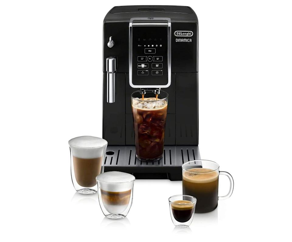 "Get the <a href=""https://amzn.to/33dzeeP"" target=""_blank"" rel=""noopener noreferrer"">De'Longhi Dinamica Automatic Coffee & Espresso Machine TrueBrew</a> (with a Burr grinder, descaling solution, cleaning brush and bean-shaped ice cube tray) <a href=""https://amzn.to/33dzeeP"" target=""_blank"" rel=""noopener noreferrer"">on sale for $719</a> (normally $900) at Amazon."