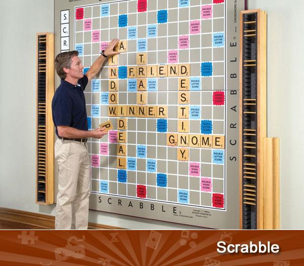 SCRABBLE -- A standard Scrabble board measures 15.5 inches x 20 inches, but this wall-mounted version from Hammacher Schlemmer is nearly five times as large. Made of Russian birch plywood and galvanized steel, there are only nine of these boards in existence, all handmade by artist pop culture artist John Kahn. If you want one, it will run you $12,000.