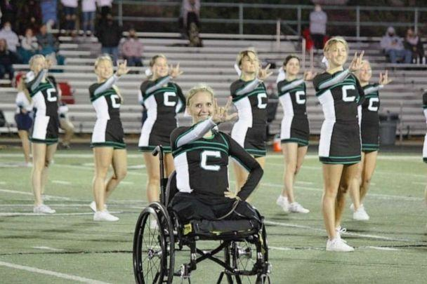 PHOTO: Sarah Frei, 17, of Syracuse, Utah, returned to cheerleading after undergoing 20 surgeries, including a double leg amputation, following a drunk driving crash. (The Frei Family)